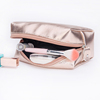 Hot Selling 22x14.5cm Metallic Beauty Makeup Organizer Gold and Rose Gold Cosmetic Bag
