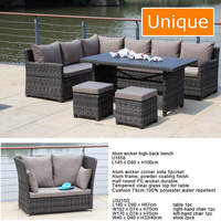 2017 new design Modern Alum wicker corner sofa 5pc/set / lounge Sofa Furniture