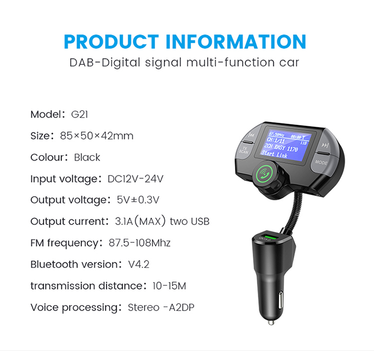 New and fashion design in-car adapter car radio dab transmitter