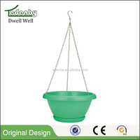 Home hanging flower pots plastic yard planter colorful round