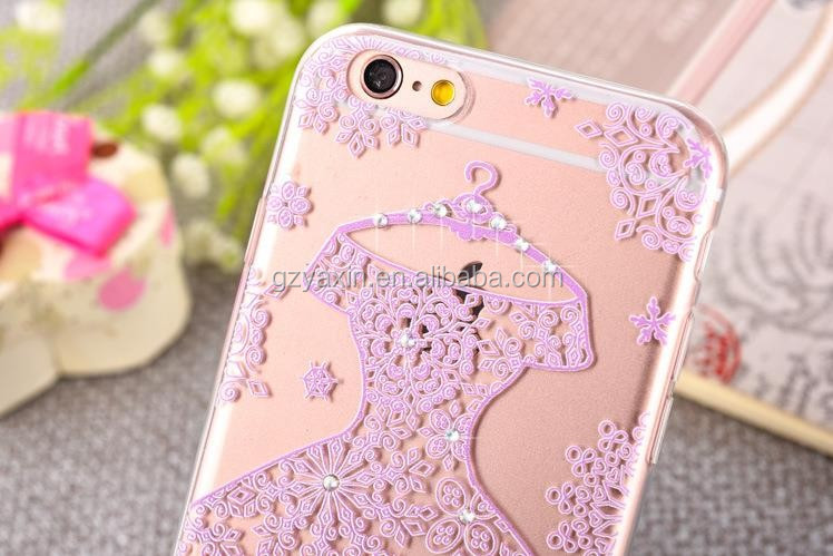 Useful clear TPU case for iPhone 7 back cover / bling bling beautiful dress case for iPhone 7 phone cover made in China