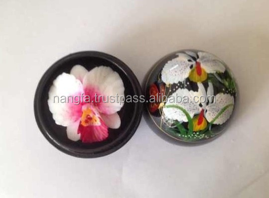 Thai orchid flower hand-carved from soap in lacquer ware + saa paper box