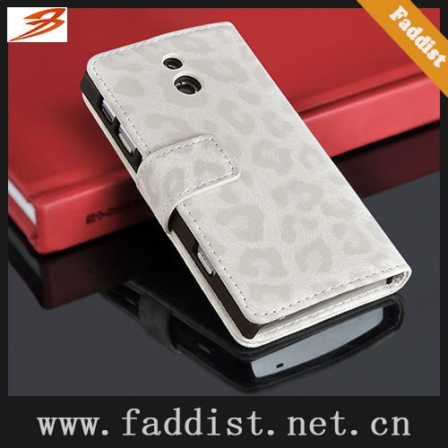 wallet case for Sony Xperia P LT22i leather case leopard pattern