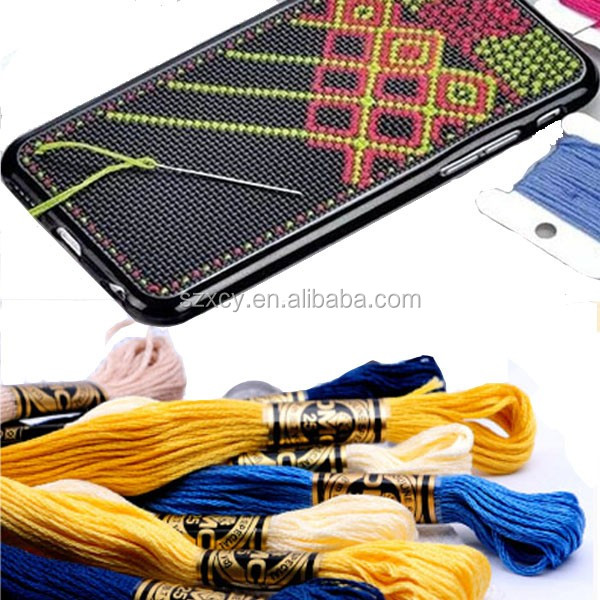 hot sale DIY cross stitch mobile back cover case of phone for iphone 5 6 7