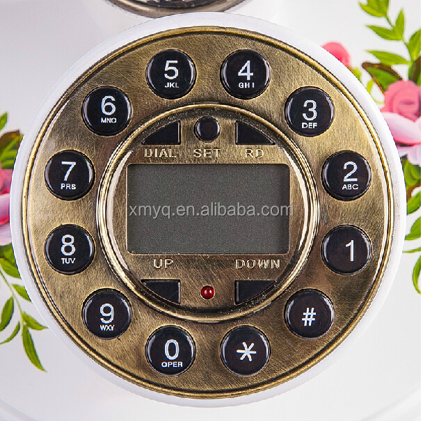 Wood Craft Retro Style Caller Id Phone Home Vintage Corded Telephones For Decor