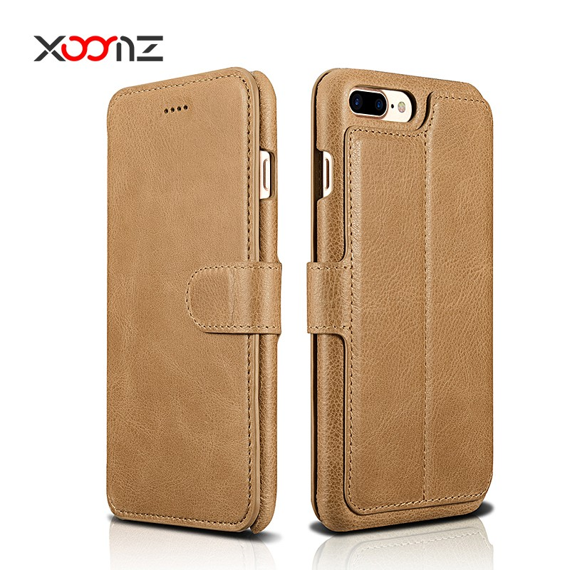XOOMZ 2017 New Leather Wallet Case Cover for iPhone 7 7 plus with Credit Card Holder Stand