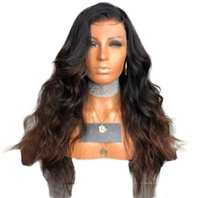 Pre-Plucked 20 Inches Ombre 2 Tone Body Wave Brown Color Lace Front Wigs Cuticles aligned Human Hair Wigs