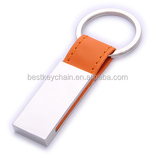 promotional key chain metal / leather logo key chain