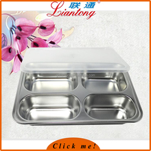 LianTong Brand Hot sale 304 stainless steel 4 divided fast food canteen tray /mess tray with pp lid