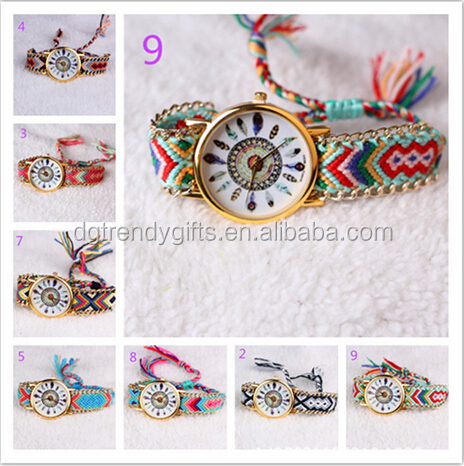 Vintage Fashion Color Bracelet Natives Knitted Dreamcatcher Friendship Watches