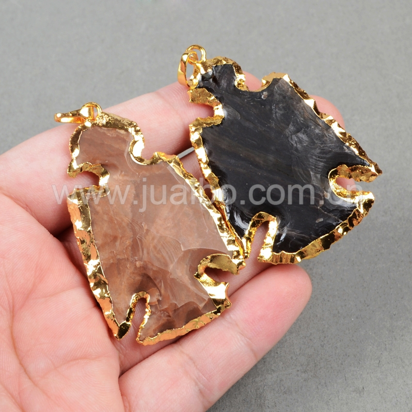 Gold plated multi-color bird carved gemstone jasper pendant G0788