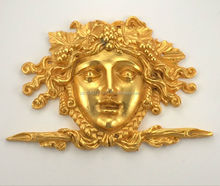 24 KT GOLD PLATED LARGE FACE MEDUSA MOUNT ORMOLU GILD NEOCLASSICAL FURNITURE HARDWARE