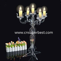Exquisite Clear Acrylic Lucite five Candelabra Holder/Acrylic Wedding Table Decoration