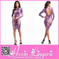 Wholesale long sleeve purple casual short sexy tight tube dress