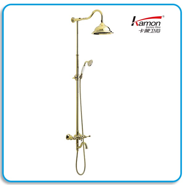 Golden European Brass Bathroom Shower Mixer Faucet
