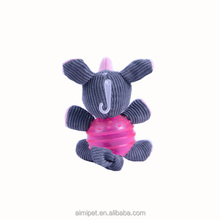 wholesale animal plush New beatiful TPR design pet products corduroy dog ball toy