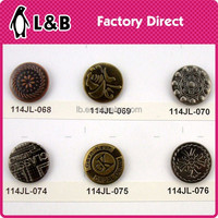 garment accessory 17mm cheap metal jeans button