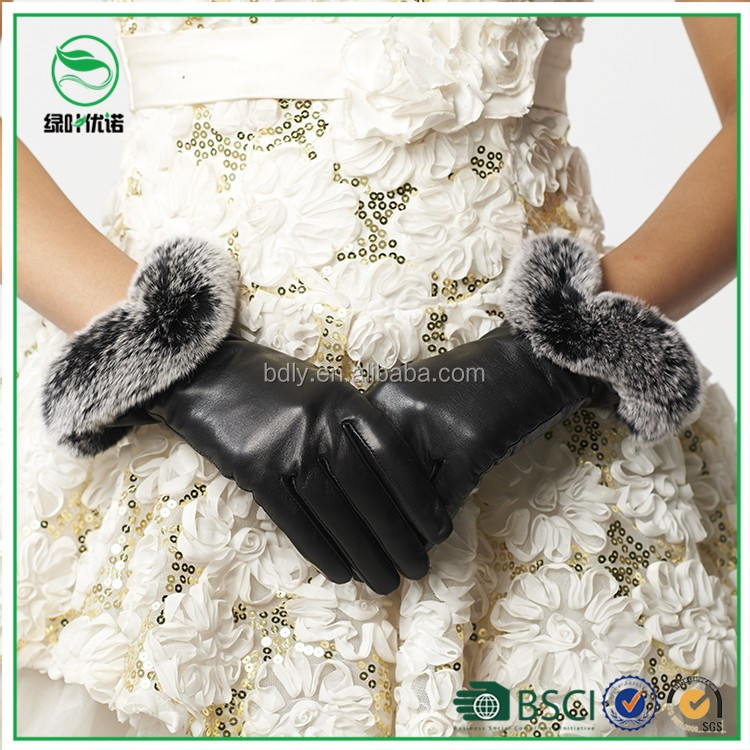 Ladies fashion dress with pictures of fancy leather gloves