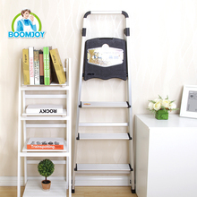 BOOMJOY TZ-08T/J multi-functional thicken aluminum foldable 4 steps ladder with extra wide step and tool table