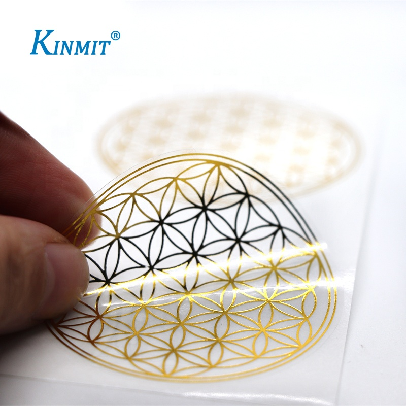 Custom Logo Printed Clear Gold Foil Stickers Gold Stamping Transparent Sticker Label
