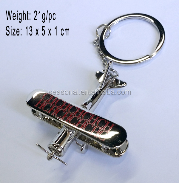 OEM min 3D metal aircrhelicopter aft plane airplane aeroplane keychain key chain