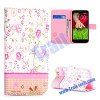 Fragrant Flowers Pattern with Rhinestone Inlaid Cross Texture Magnetic Flip Stand Leather Case for LG G2