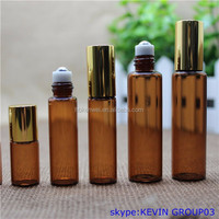 SMALL AMBER 5ML EMPTY PERFUME ROLL ON ROLLER BALL GLASS BOTTLE