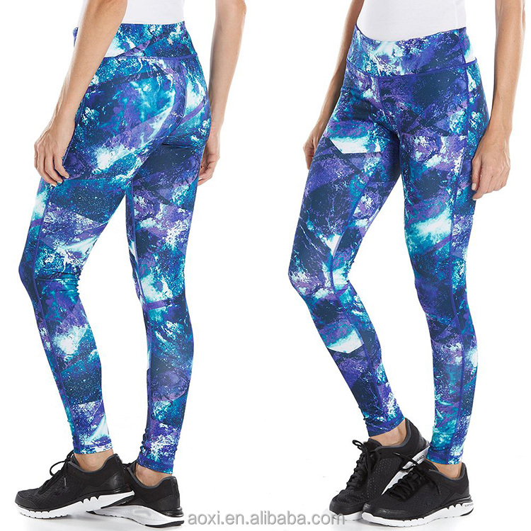 Oem supply all over sublimation print slim fit capri leging sexy girls yoga pants