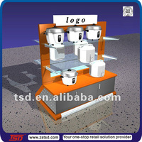 TSD-W322 customized electrical devices display stand/ wooden rice cooker display/ retail gondola cooker display stand