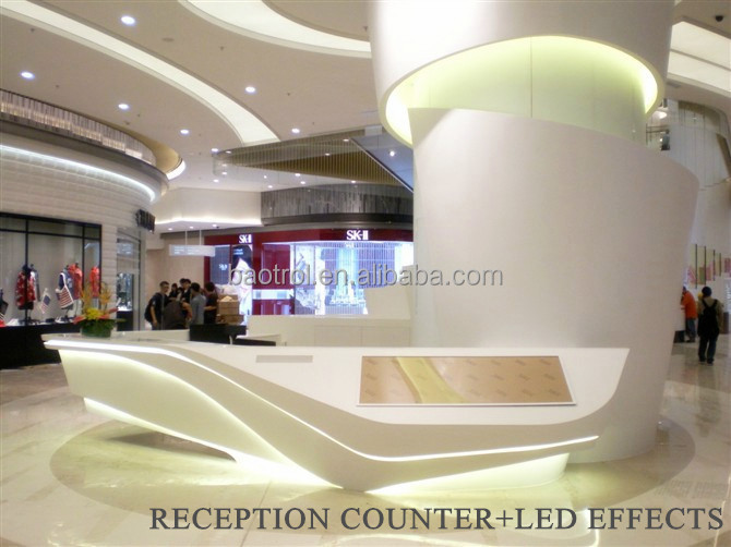 Modern L Shape Counter High Glossy White Beauty Salon