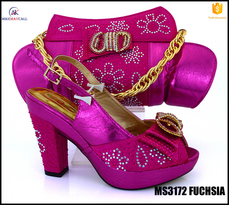 MS3172 Fuchsia african crystal bridal shoes and matching bag set 11.8cm high <strong>heels</strong> with purse for lady