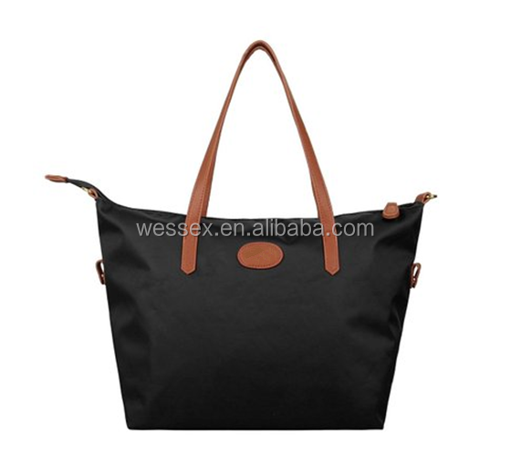 Fashion Women Nylon Shoulder Bag Twin Leather Handle Tote Bag Black Leather Travel Bag