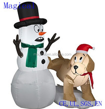 Puppy Dog Surprising Snowman Christmas Inflatable 4 feet tall