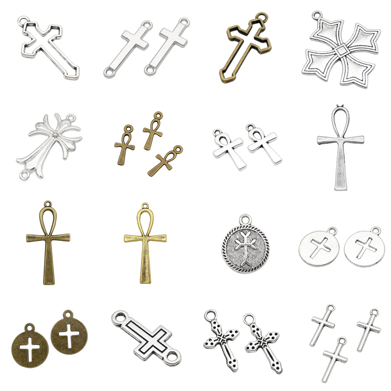 Christian Jesus Gift Maltese Celtic Greek Latin Wave Retro Wing Sword Cross Connector Pendants Charms For Bracelets Necklaces