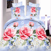 3bridal d flower big flower red rose bedding set