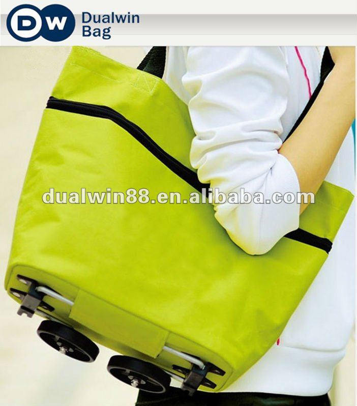 Fashion foldable trolley shopping bag polyester
