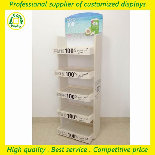 pop pos retail shopping mall floor 5 tiers wood merchandising display unit for coconut milk