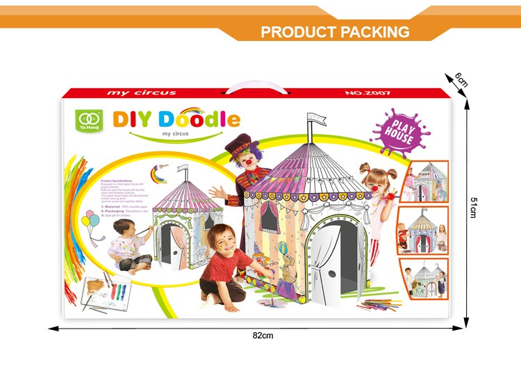 Wholesale kid educational toy DIY doodle circus tent