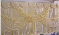 3X6M Ivory wedding event or party stage wall covering background curtain backdrops ice silk fabric with swag decoration curtain