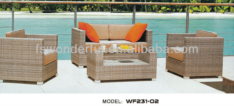 WF231-02 garden wicker/rattan sectional furniture sofa set
