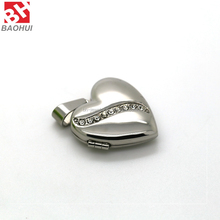 2016 22*22MM Heart Shape Stainless Steel Jewelry Pendant Frames Living Memory Floating Locket With Crystal