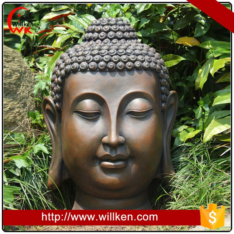 Resin buddha head for garden decoration