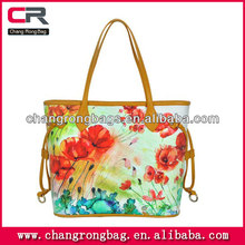 2014 New Collection canvas leather bag canvas bag with leather trim made in China