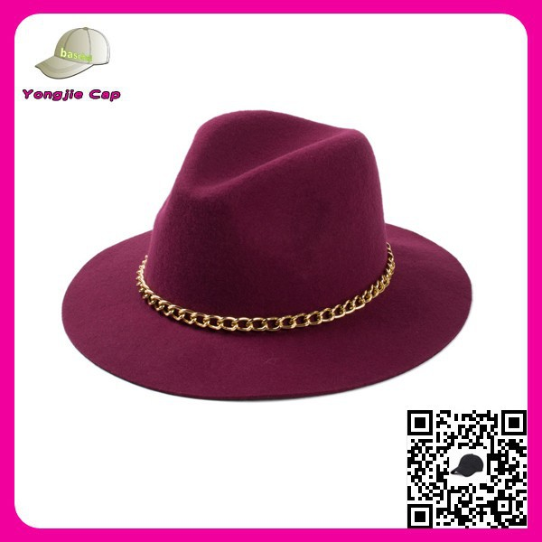 High quality 100% wool Custom Handmade Fedora Panama plain felt cowboy hats wholesale