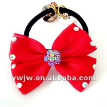2012 Cheap Fashion beautiful Bow Tie Rhinestone Hair Accessories/Rubber Band Hairband For Kids(JW-917)