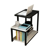 Small Household Furniture Metal Stainless Steel Double-Decker Coffee Computer Side Table