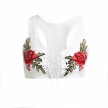 Sexy Fashion Women Vest Crop Top Floral Embroidery Lace Up Scoop Neck Sleeveless Casual Short Blouse White