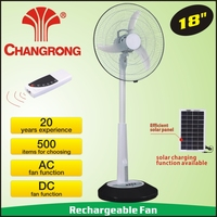 "CR-8318R solar 18"" oscillating 3 speed stand fan with 12 led"