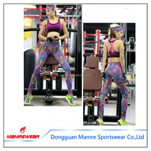 Multicolor Ladies Fitness Bra and Yoga Pants Printed Sport Suit