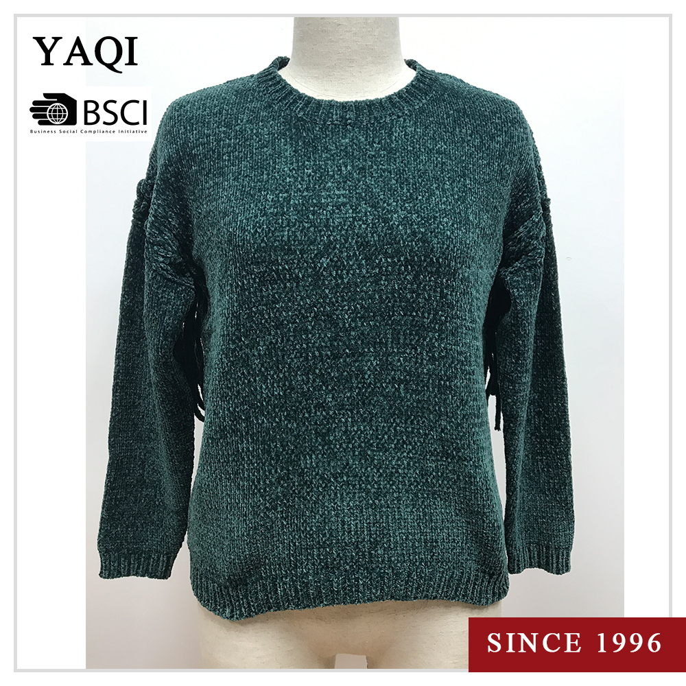 Crew Neck High Quality Women Irregular Jumper Knit Ladies Sweater